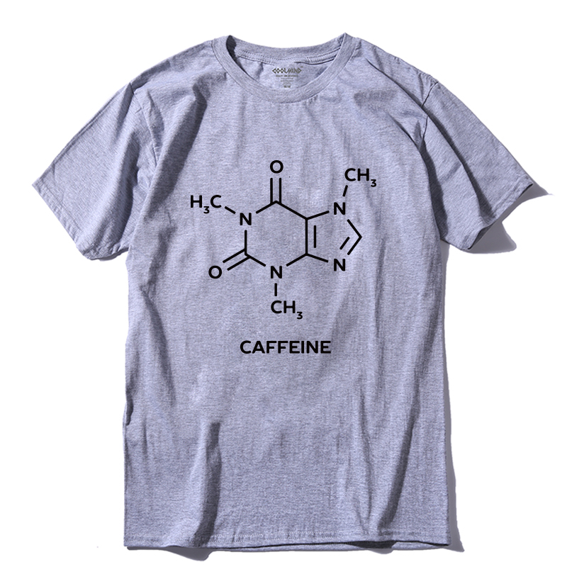 COOLMIND QI0260A 100% cotton cool caffeine print men   T     shirt   casual short sleeve men   t  -  shirt   cool summer men Tshirt tee   shirts