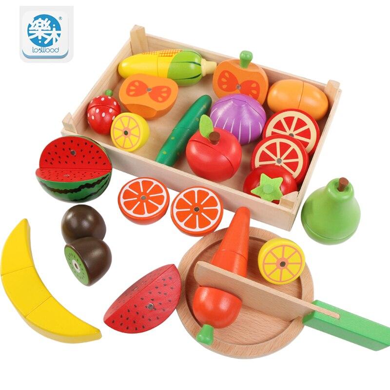 Logwood Holz klassische spiel simulation küche serie spielzeug Schneiden Obst und Gemüse Spielzeug Montessori Frühen bildung geschenke