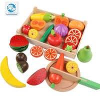 Logwood en bois classique jeu simulation cuisine série jouets coupe fruits et légumes jouets Montessori éducation précoce cadeaux