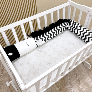 Mediterranean style Baby Bed Bumper Zebra shape Child crib Pad Protection Cotton Cot Bumpers Bedding for Infant Room Decor 2M/3M