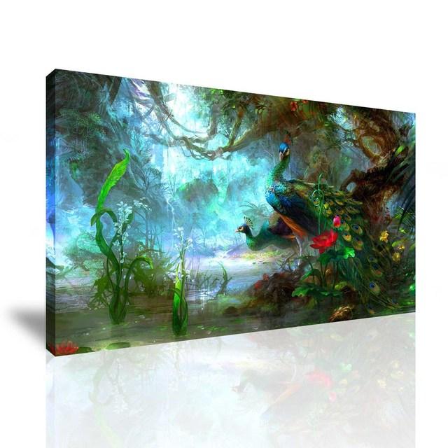 Livraison Gratuite Vente Chaude Mur Moderne Peinture Animaux Paon ...