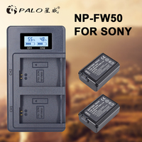 2pcs NP FW50 NP FW50 Camera Battery +LCD digital camera battery Charger for Sony Alpha a6500 a6300 a6000 a5000 a3000 NEX 3 a7R