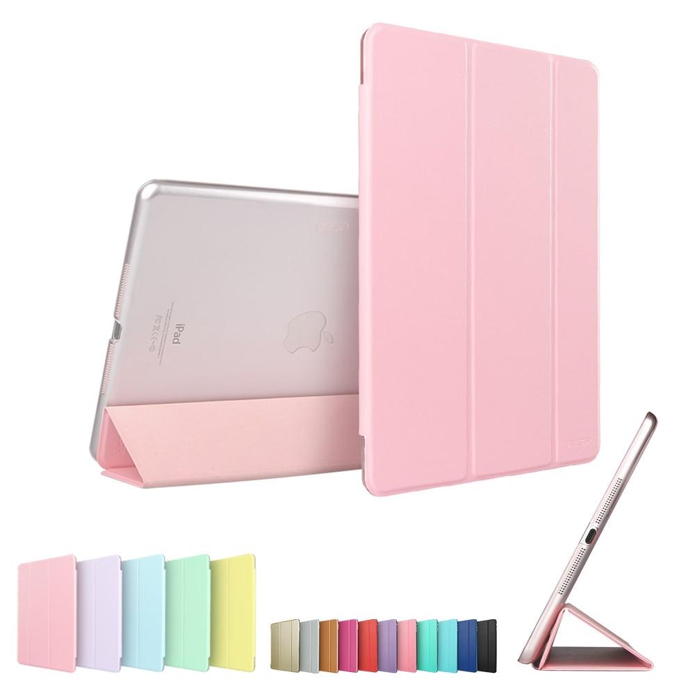 Case For Ipad Mini 1 2 3 Tri-Fold Smart Cover Color Ultra Slim PU Leather Transparent Back Case For Ipad Mini 1 2 3