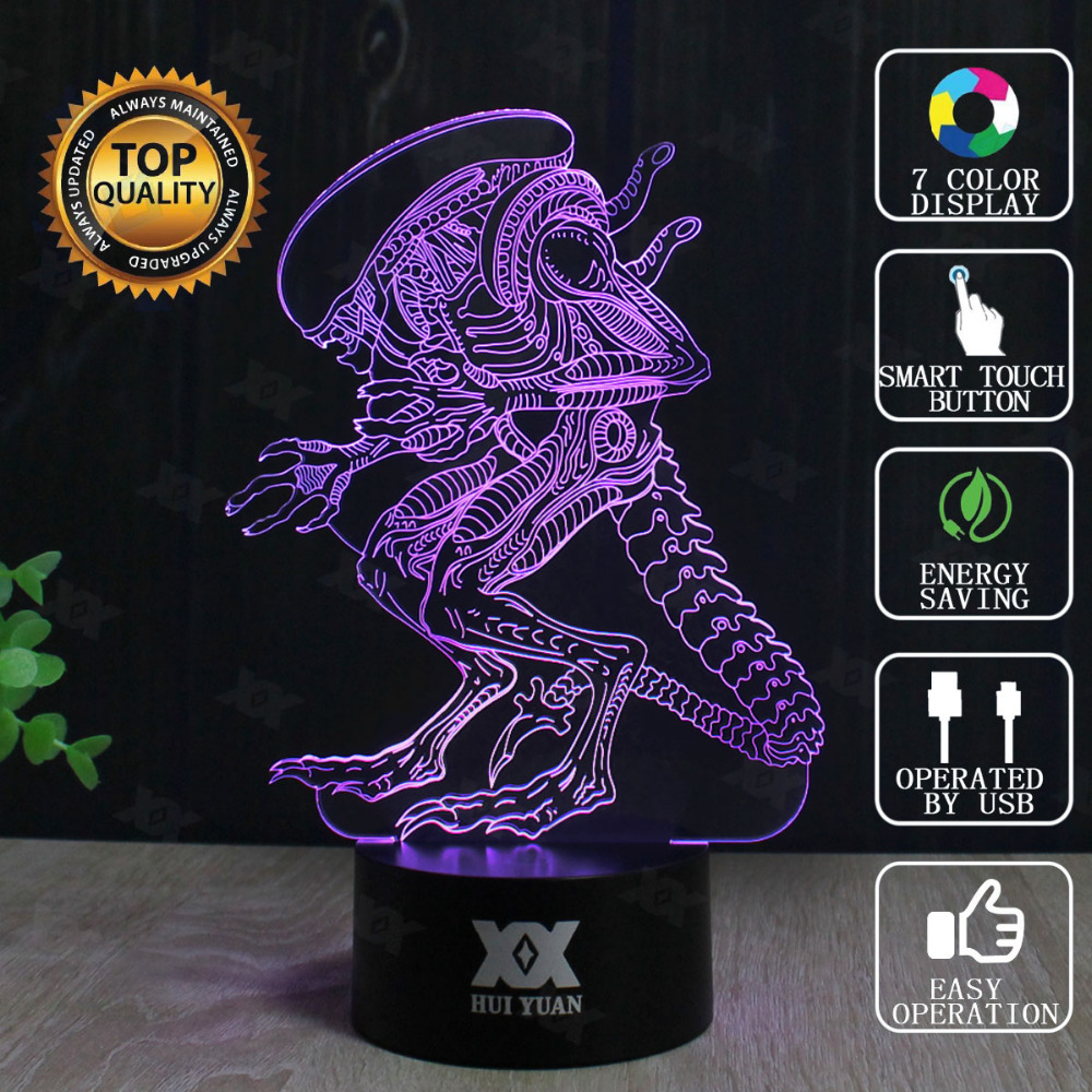 HUI YUAN Brand USB 3D Lamp Visual Illusion Novelty Night Light Alien Holiday Lights Glowing Christmas Presents ET