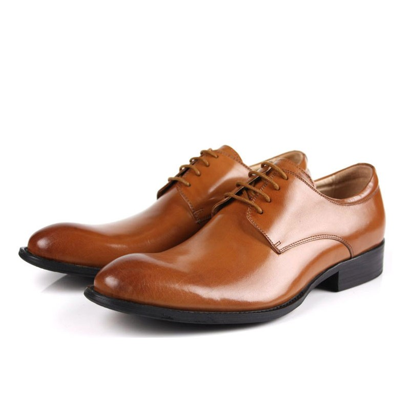2019 Spring Autumn Fashion Vintage Cow Genuine Leather Derby Shoes For Men Office Work Party Formal Dress Shoes JS A0017 in Formal Shoes from Shoes