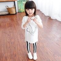 2 Pieces Set Girls T Shirt Stripe Leggings Long Sleeve Lovely Cat Girls Clothes Set Cute