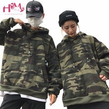 Camouflage Coat BF Big Pocket  Thick Loose Hooded Hoodies  Long Sleeve Couples Top