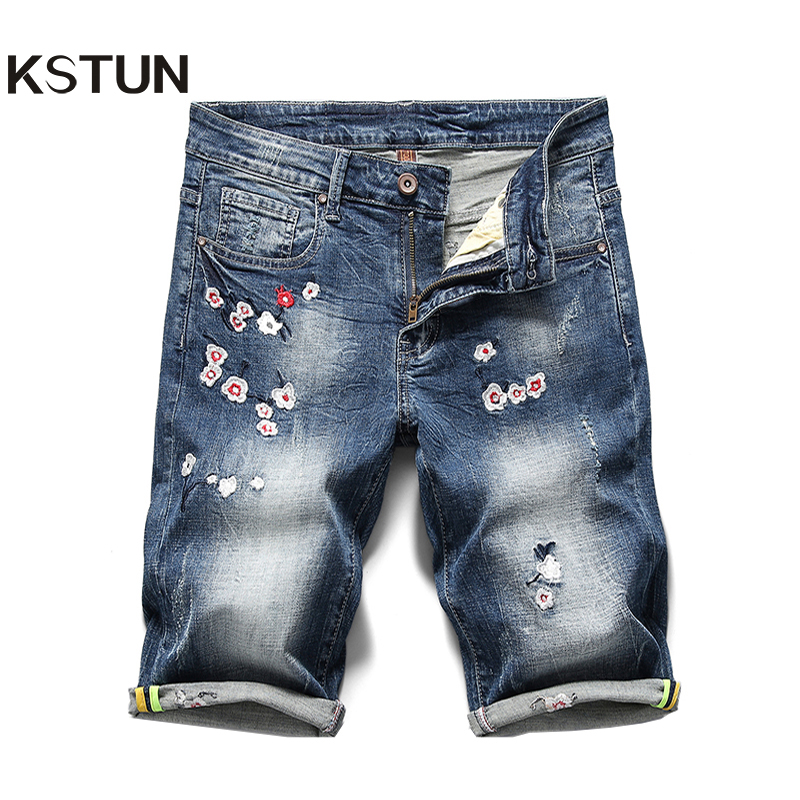 KSTUN 2020 Summer New Men's Denim Shorts Embroidery Flower Fashion Casual Slim Fit Elastic Jeans Short Male Brand Clothing Pants