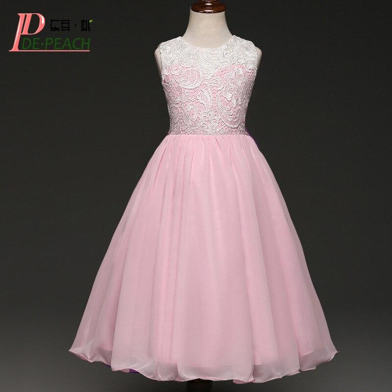 DE PEACH Lace Flowers Princess Girls Party Dresses Summer Sleeveless Kids Wedding Birthday Tulle Dress Christmas Girls Clothes