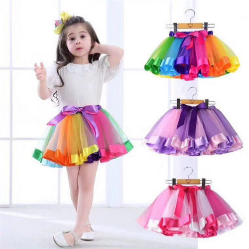 Family Matching Sets Kids Mother Daughter Girl Skirts 7 Style Rainbow Print High Waist Bow Tutu Skirt Party Dress Adult One Size telle mère telle fille vetement