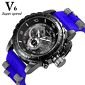 V6 Large dial quartz watch men's outdoor sports watches students silicone strap sports watch new brand high quality gift watches