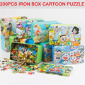 Kids Toys 200 pcs Iron Box Wooden Puzzles Child's Jigsaw Puzzle Toddlers Educational montessori Toys for Children Free Shipping