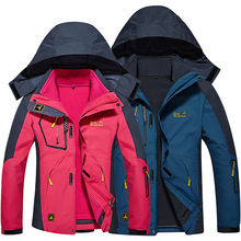 Winter Waterproof Windproof Hiking Jacket Women Men Fleece Outdoor Sport Warm Brand Coat 2 Pieces Camping Trekking Skiing Jacket men s winter waterproof jacket women soft shell rain fleece outdoor sport warm brand coat hiking camping trekking skiing jackets