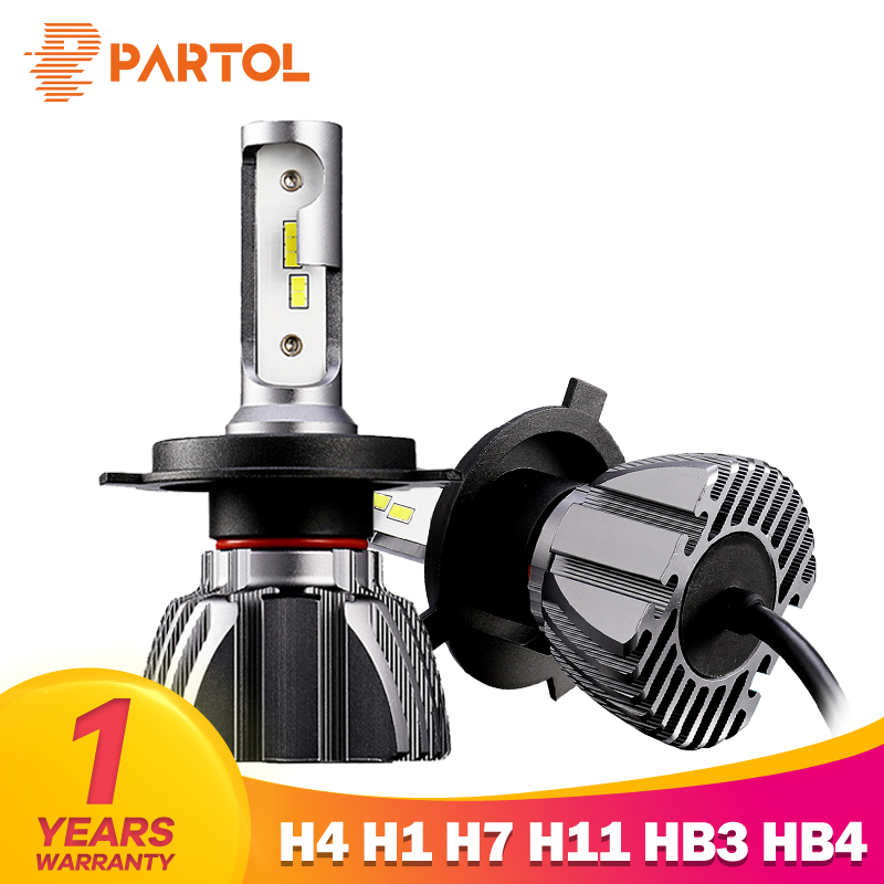 Partol Car H4 LED Headlight Bulbs 50W 8000LM H7 LED 9005 9006 H3 Auto LED H1 Headlamp CSP H11 LED Fog Bulbs 6500K 12V Car Lights 2pcs lot 80 watt led xenon blanc h7 led 80w canbus 80 watt viel heller wie 60w 50w 55w anti brouillard auto car fog led