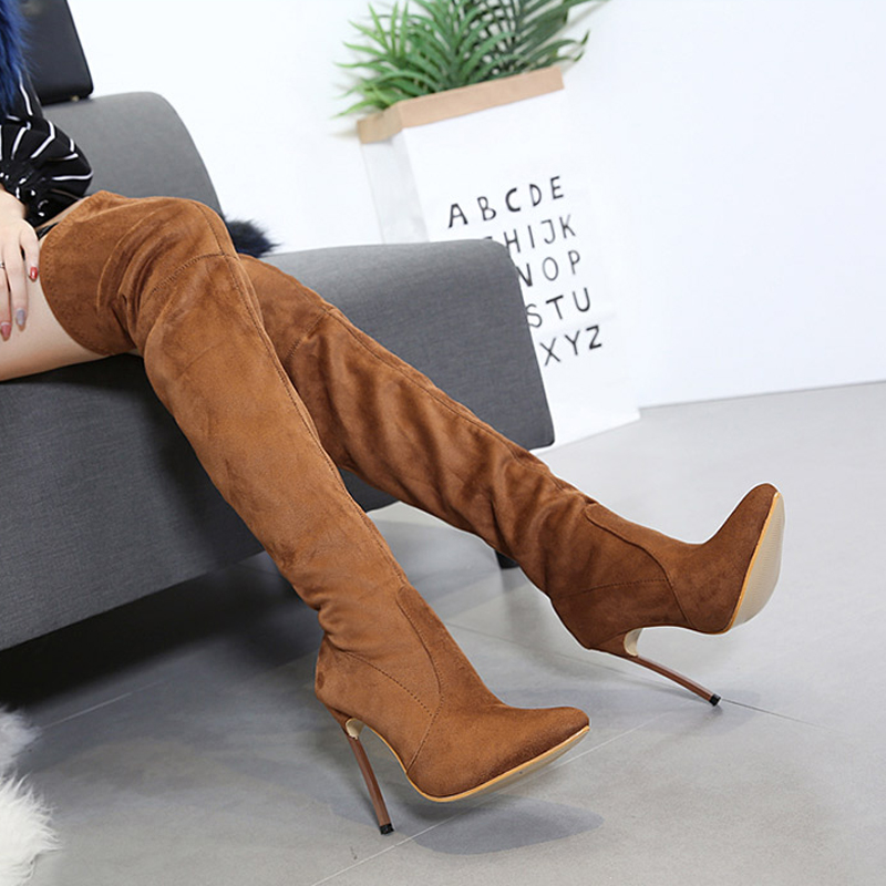 e19033f0ed Sexy Over The Knee High Women Boots Faux Suede Stretch Slim Boots Fashion  12cm Heel Thigh High boots Shoes Woman 42 Size SWE0002-in Over-the-Knee  Boots from ...