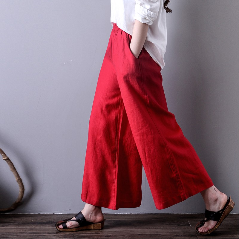 2018 new spring autumn woman   wide     leg     pants   loose casual ankle-length   pants   fashion high waist plus size M-7XL trousers black