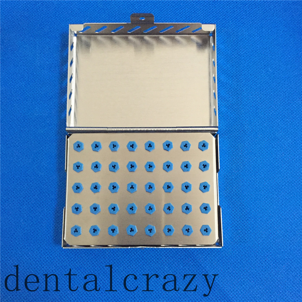New Dental 40-Holder Implant Drill Bur Tray with Stainless Case Sterilization 1pc dental tool implant bur drill sterilization cassette kit organizer box new