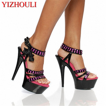 Bowknot adornment Fashion shoes princess party during the new 15 centimeters high heel sandals girlies hollow out shoes