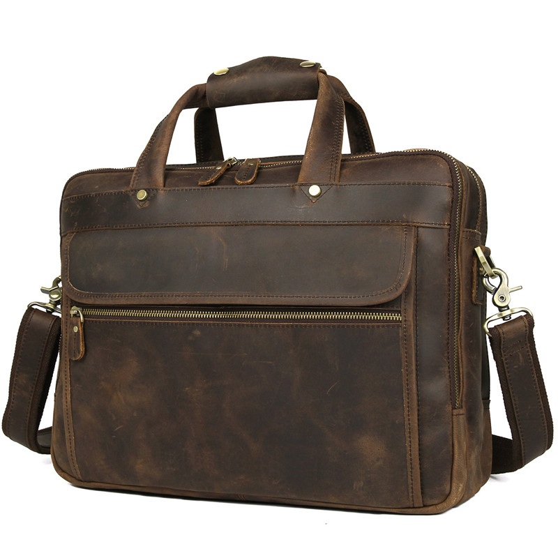 Nesitu Brown Genuine Leather Men Briefcase Messenger Bags Business Travel Bag Crazy Horse Leather 15 6