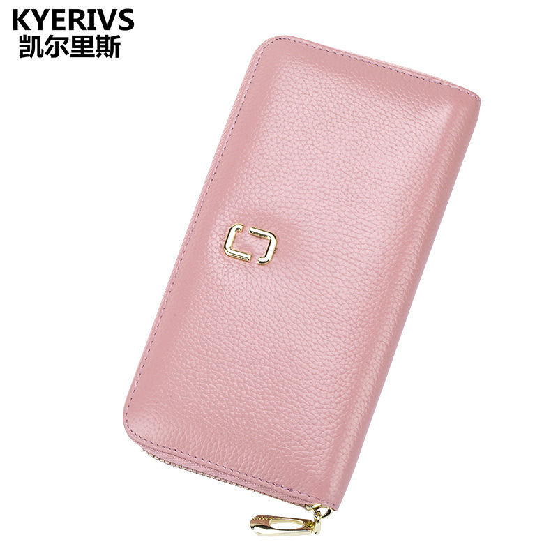 Fashion Genuine Leather Wallet Female Long Purse Wallet Women Zipper Women Wallets Card Holder for Lady