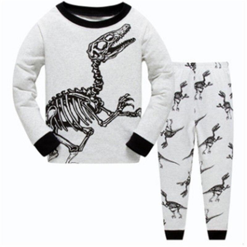 Серый костюм для маленьких мальчиков с рисунком динозавра хлопковые детские пижамы, комплект одежды, одежда для сна с рисунком динозавра для маленьких мальчиков пижамы для детей от 1 года до 7 лет