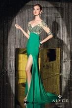 2015 Luxury Mermaid V Neck Half Sheer Sleeve High Slit Floor Length Backless Mother Of The Bride Dresses
