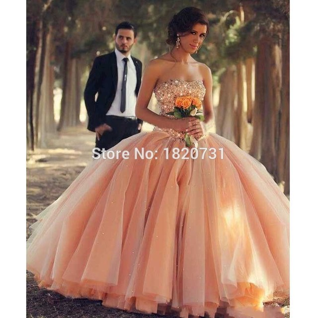 811a3901a6b 2017 Quinceanera Dresses Strapless Coral Organza Crystals Beaded Lace up  Back Ball Gown Debutante Dress vestidos de ga Ball Gown