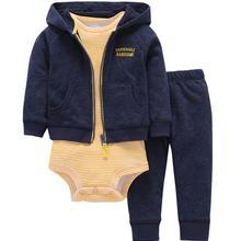 Одежда для маленьких мальчиков и девочек комплект одежды для новорожденных, куртка+ полосатый комбинезон+ штаны, наряд для новорожденных Костюм для детей хлопковый костюм
