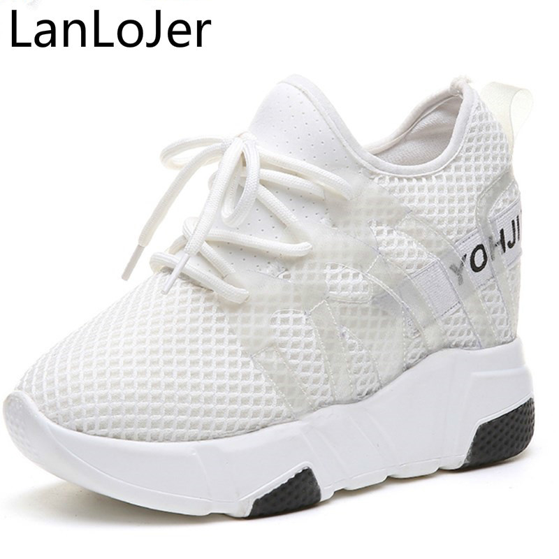 LanLoJer Breathable Air Mesh Women Sneakers 2018 Spring Summer New Woman 9cm Hidden Heels Shoes Height Increase White Footwear