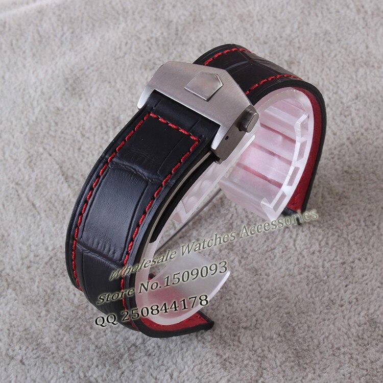 Nouvelle arrivée en acier Inoxydable pliage boucle déploiement Véritable bracelet de montre bracelet rouge piqué 20mm 22mm hommes montre Accessoires