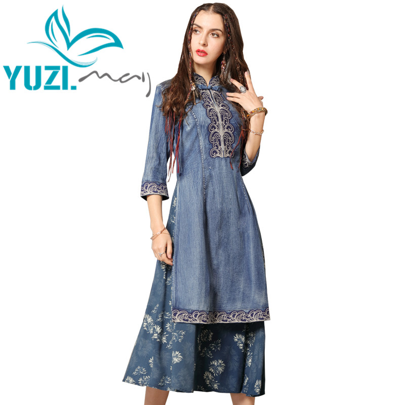 Vestido de verano 2019 Yuzi. Mayo Boho nuevos Vestidos de mezclilla para mujer cuello mandarín media manga bordado de flores Cheongsam A82136 Vestidos-in Vestidos from Ropa de mujer    1