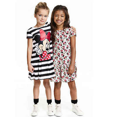 ホット販売ベビーベビーキッズガールズ漫画ミニーのドレスクリスマス grils パーティードレス子供の服ストライプチュチュプリンセスドレス