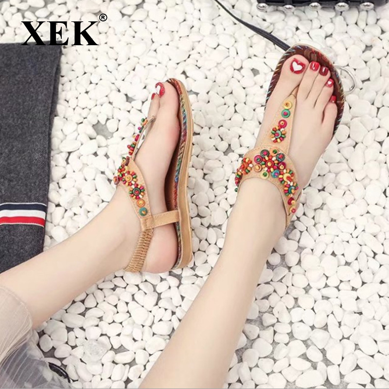 XEK 2018 Summer Bohemian Women Sandals Gemstone Beaded Slippers Beach Sandals Women Flip Flops Ladies Flat Sandals Shoes GSS53 summer sandals beaded flowers platform wedges women slippers fashion flip flops hot bohemian national style women sandals