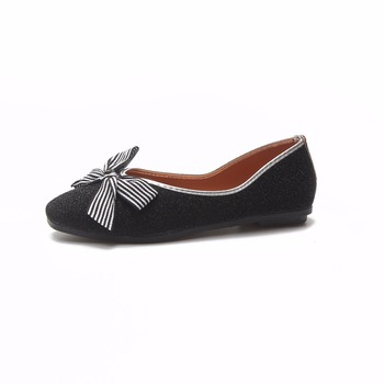 2018 Women Shoes Pointed Toe Bow-knot Ladies Flat Shoes Office Lady Flats Autumn Shiny Sequins Slip on Bow Shoes Women Flats