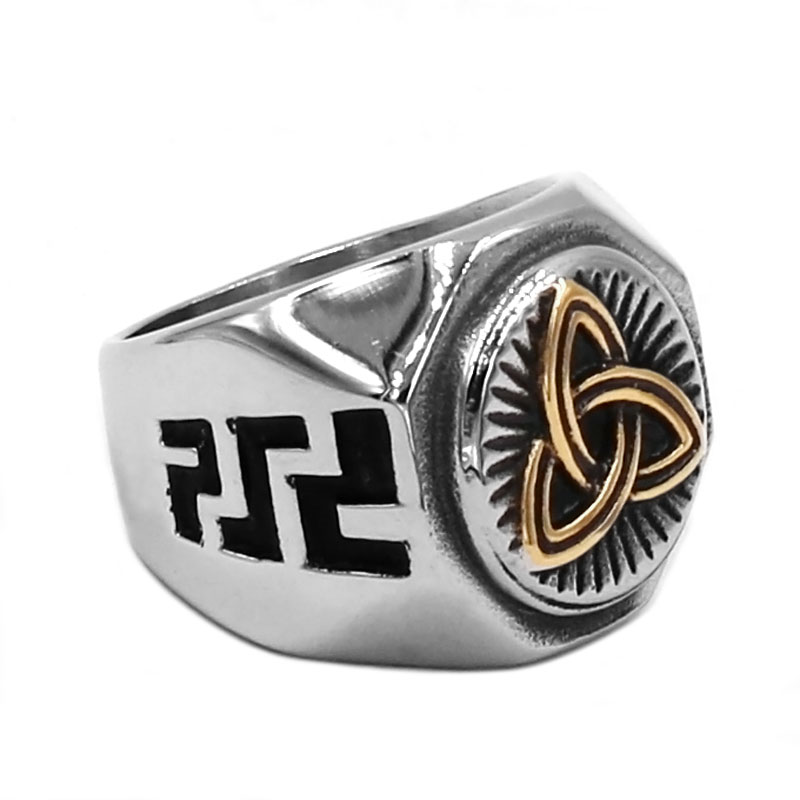 Claddagh Irish Pattern Biker Ring 316L Stainless Steel Jewelry Classic Gold Celtic Knot Ring Biker Men Rings Wholesale SWR0752A