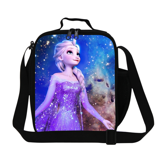 Christmas gift cartoon anna design cute lunch bag with straps,therml lunch container with bottle holder,childrens insulated bag