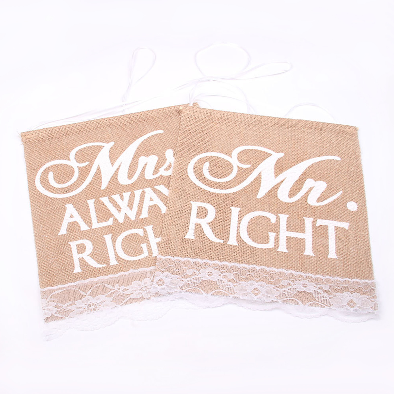 1set 24x28cm Wedding Party Khaki Mr Right & Mrs Always Right Pattern Chair Jute Hessian Chair Banner Rustic Lace Decor Burlap
