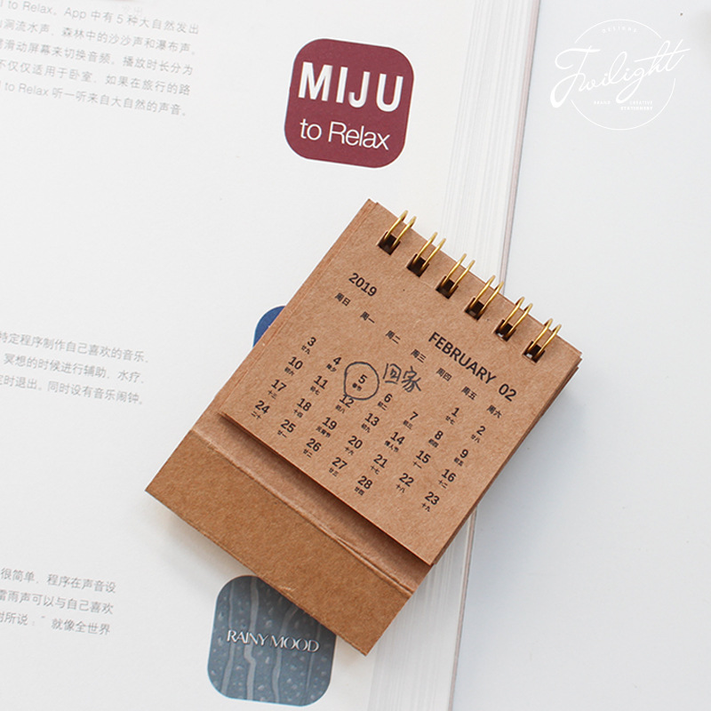 2019 New Year Calendar 2019 Fashion Simple Lovely Mini Table Calendars Vintage Kraft Paper Desk Calendar Office School Supply Calendars, Planners & Cards Office & School Supplies