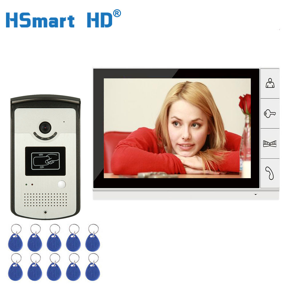 9'' TFT LCD Wired Video Door Phone Visual Video Intercom Speakerphone Intercom System With Waterproof Outdoor IR RFID Camera