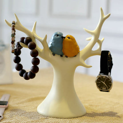 Créatif à la main oiseaux sur arbre ornements décoratifs bijoux rack présentoir porte-bijoux ameublement moderne maison déco