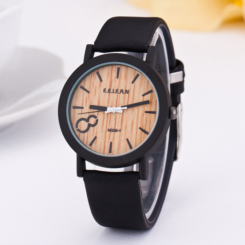 2018 new product recommended imitation wooden quartz female leisure Color Leather Strap Watch 2