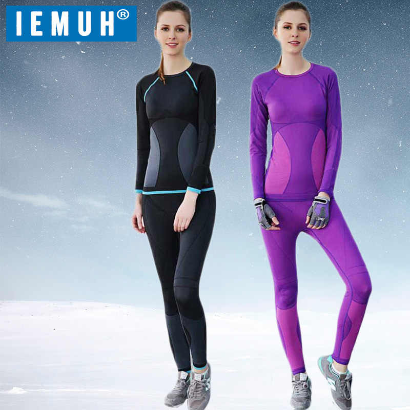 IEMUH Brand New Women Autumn Winter Thermal Underwear Quick Dry Elastic Compression Warm Long Johns Casual Thermo Underwear Set