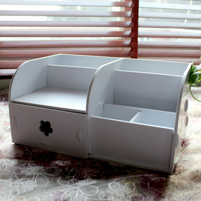 multiple square desktop cosmetic organizer with drawer modern wood plastic eco friendly bathroom office storage china eco friendly modern office
