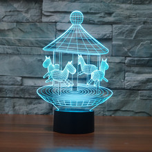 7 Colors Touch Table Desk Lamp for Holiday Gift Carrousel 3D LED Night Light Optical Illusion Visual
