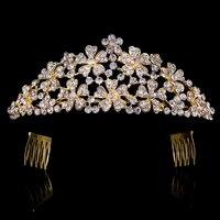 2017 New Fashion Flower shape Cystal SilverColor Korona Diadem dla Kobiet Prezenty Ślubne Suknia Ślubna Biżuteria Włosów Korony