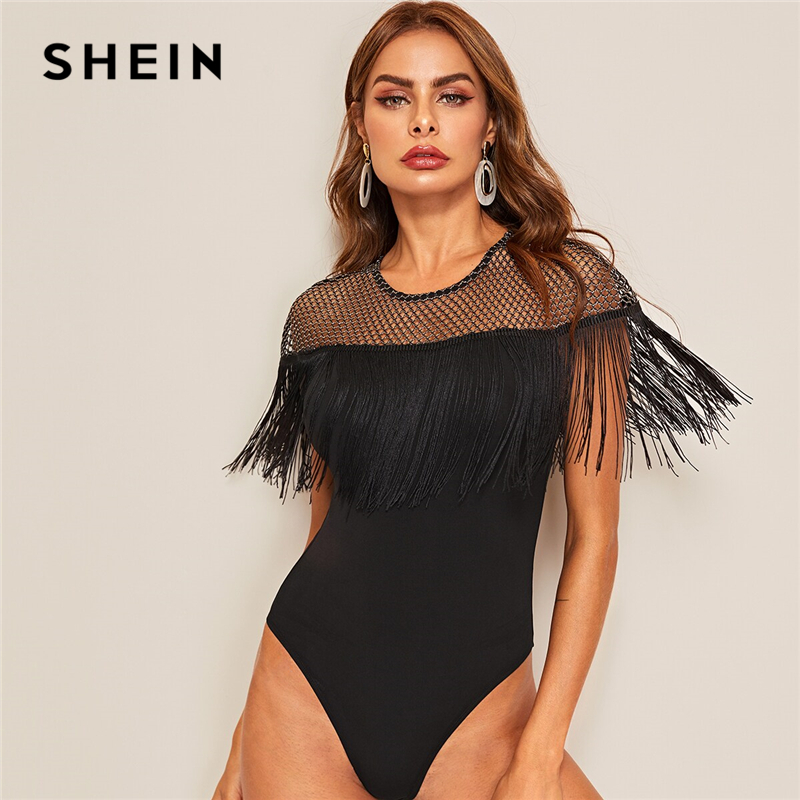 SHEIN Glitter Sheer Yoke Fringe Trim Bodysuit Glamorous Black Contrast Mesh Summer Bodysuit Women Sleeveless Sexy Bodysuits