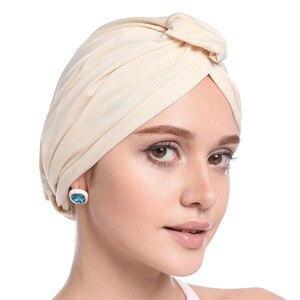 2019 Для женщин мусульманский платок шапка одноцветная хиджаб Modal тюрбаны тонкие летние эластичный обруч для головы индийские шляпы внутренн...