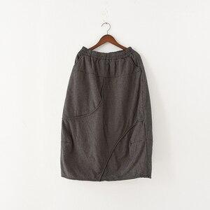 Image 4 - Женская винтажная клетчатая юбка Johnature, Повседневная Мягкая Свободная юбка А силуэта из хлопка и льна, красного и серого цвета, для осени, 2020