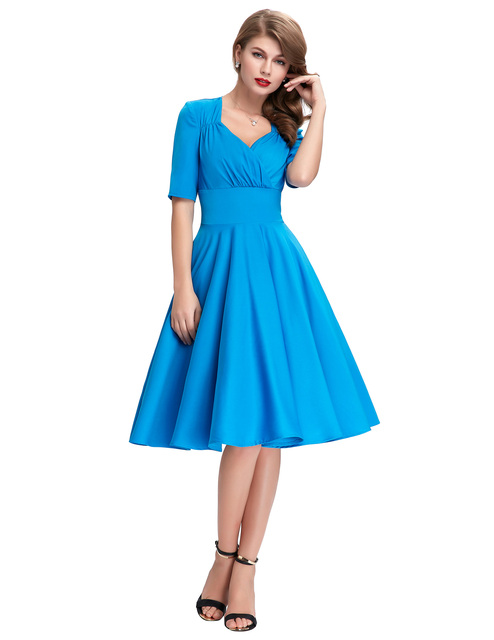 Vintage Style Swing dress elegant 1950s 60s kyliejenner victorian Retro Pinup Office work Evening wedding party Dress Blue 2