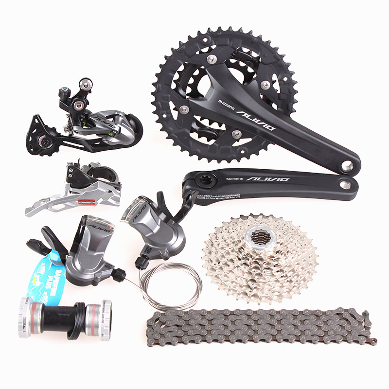 SHIMANO ALIVIO M4000 M4050 T4060 3x9S 27S speed MTB Bicycle groupset with hydraulic disc brake integrated 2016 new shimano m4050 hydraulic brake integrated with 3x9s 27s shifter lever mtb mountain bike calipers left